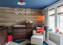 Add some blue to the nursery with a painted ceiling