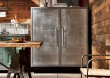 All steel two-door refrigerator in the vintage kitchen