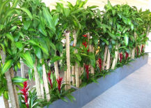 Alternative Green Wall Made of Potted Plants 217x155 8 Living Walls and Vertical Gardens to Bring a Touch of Spring into Your Home