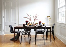 Amazing array of iconic chairs in black for the dining room