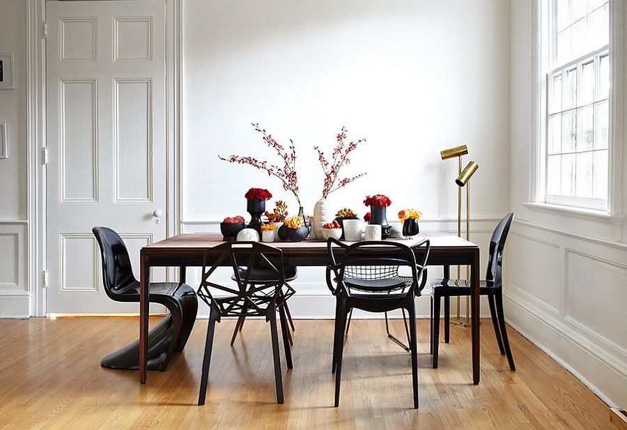 Amazing array of iconic chairs in black for the dining room [From: Lisa Petrole Photography and Stephane Chamard Architecte]
