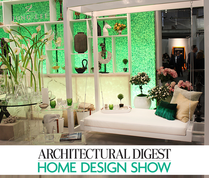 View In Gallery Arch Digest Home Design Show Green Background Jung Lee