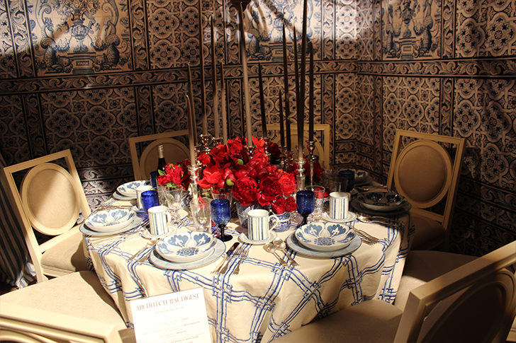Architectural Digest Blue and White Themed Table