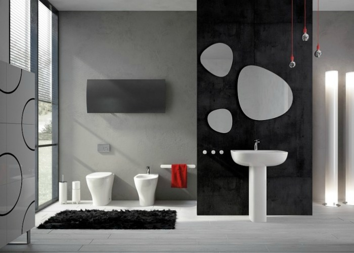 A Modern Black, White and Grey bathroom