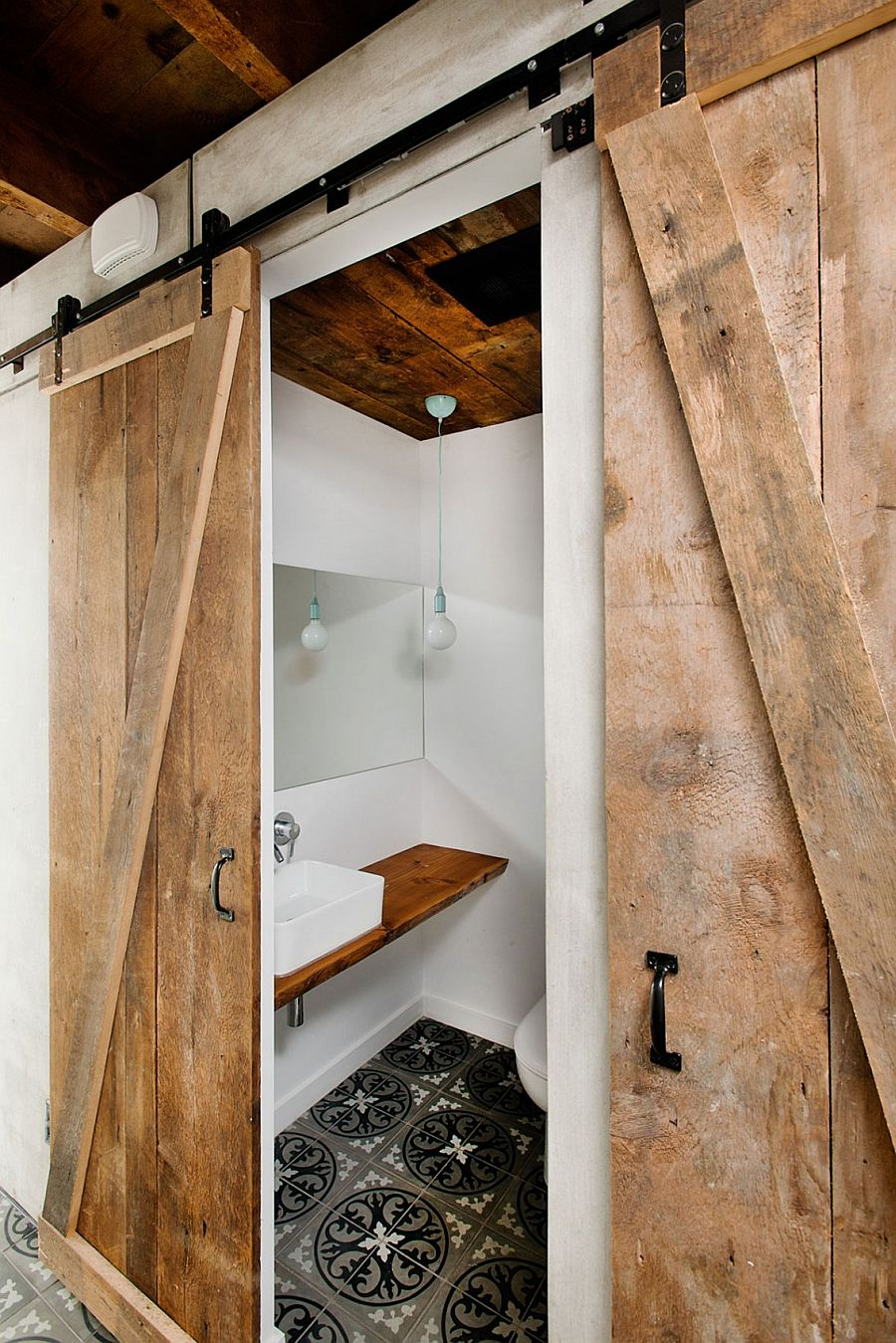 Barn style doors for the modern bath