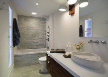 Bath and shower area in natural stone