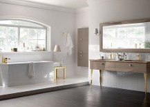 Bathroom composition from Scavolini for those who love gray and gold