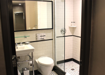 Bathroom with Black and White Subway Tile
