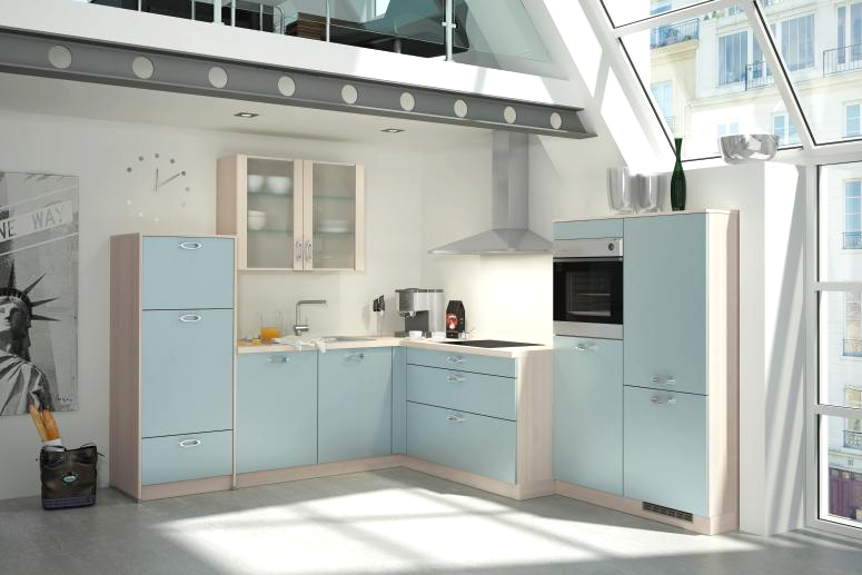 Bauformat Kitchen Cabinets in Light Blue