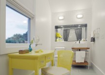 Beach style bathroom with pops of yellow