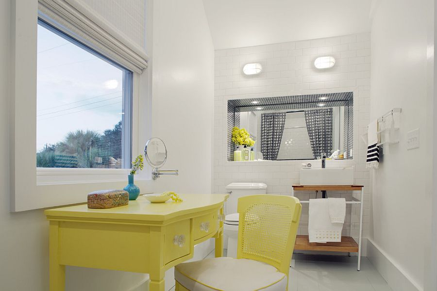 Beach style bathroom with pops of yellow [Design: Rethink Design Studio]