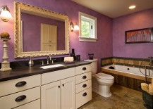 Beautiful eclectic bathroom benefits from the magic of purple 217x155 23 Gorgeous Bathrooms That Enchant with Purple Panache!