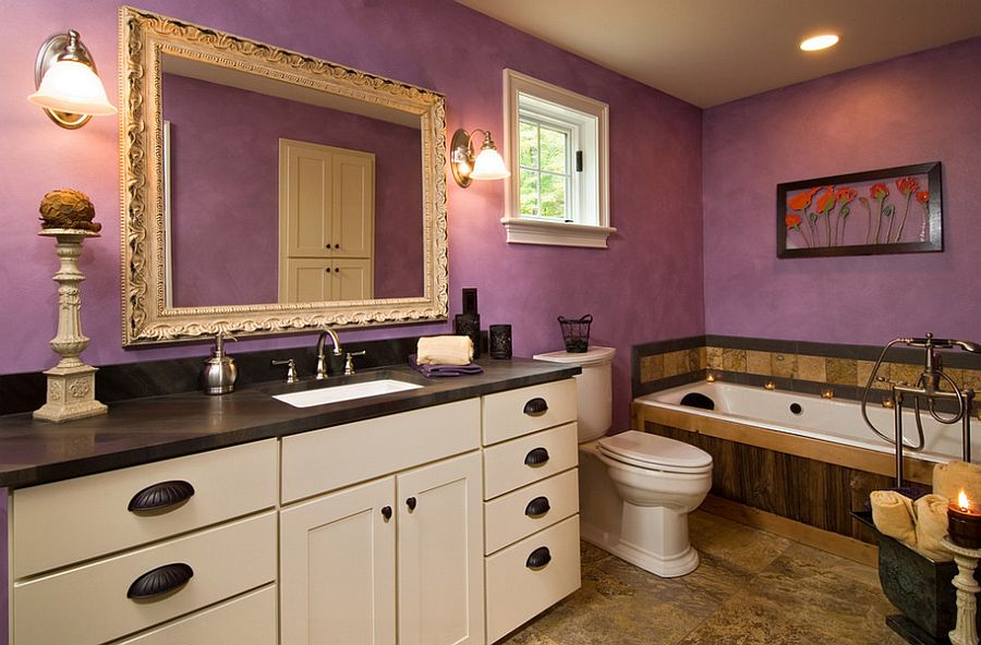 Beautiful eclectic bathroom benefits from the magic of purple [Design: Witt Construction]
