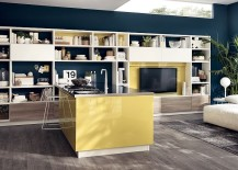 Beautiful kitchen and living room comoosition is perfect for small space