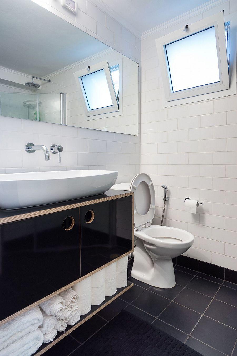 Black and white bathroom design inside the Moshav home