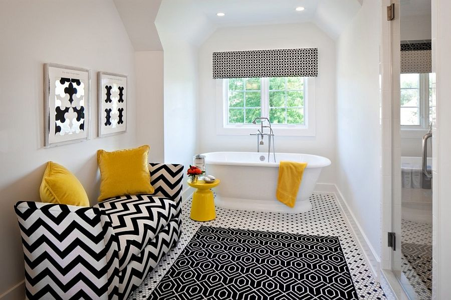 Black and white contemporary bathroom with pops of yellow [Design: K Kong Designs]