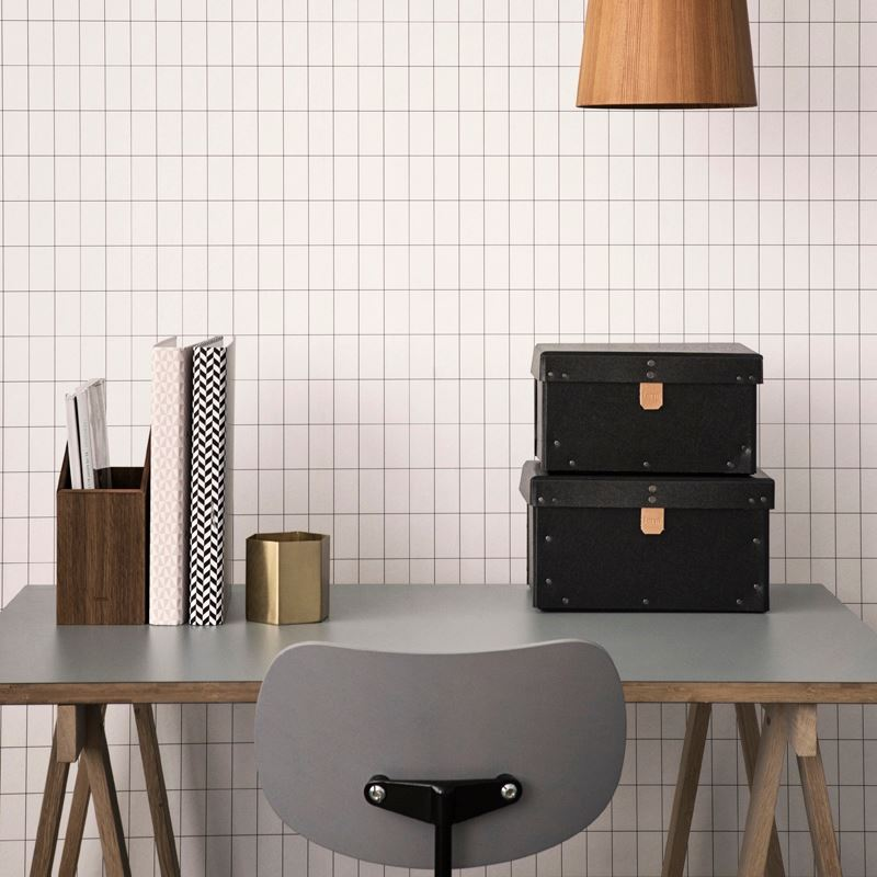 Black and white grid wallpaper from ferm LIVING