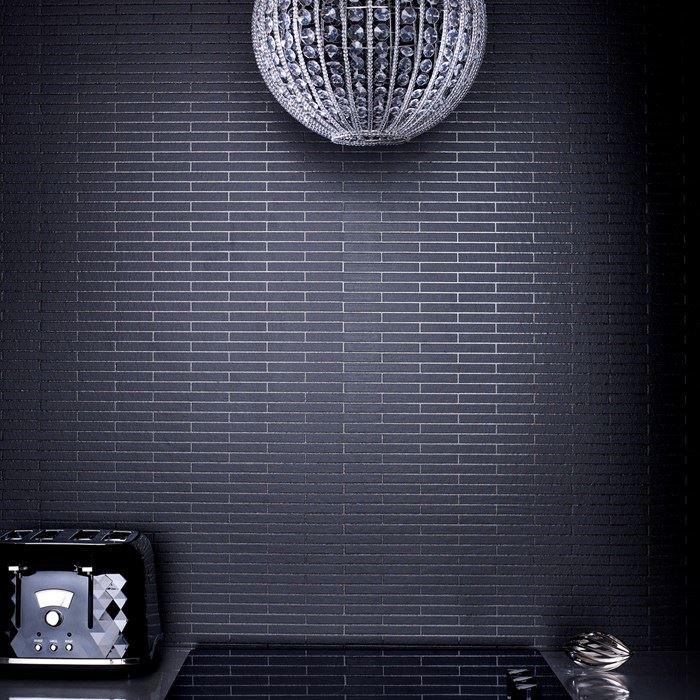 Black tile wallpaper from Graham & Brown