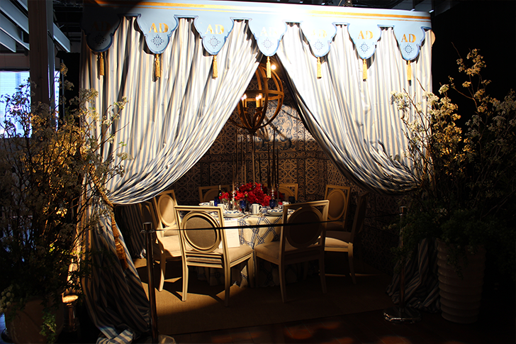 Blue and White Curtained Tent