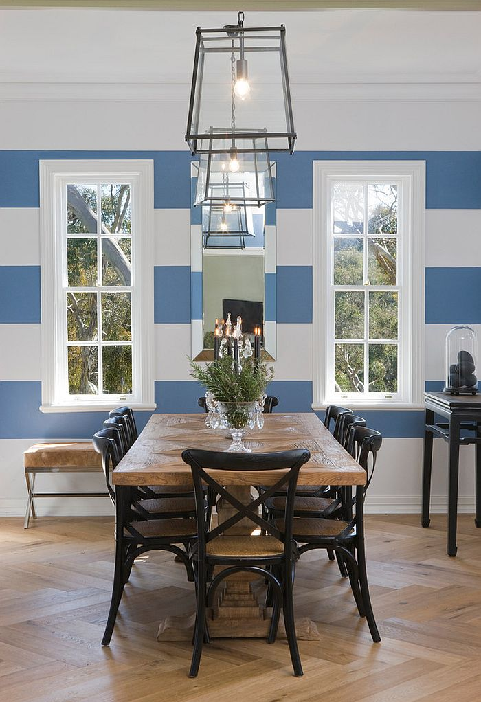 dining room color palette.  Blue and white stripes in the dining room give it a cheerful look Design 10 Dining Rooms with Snazzy Striped Accent Walls