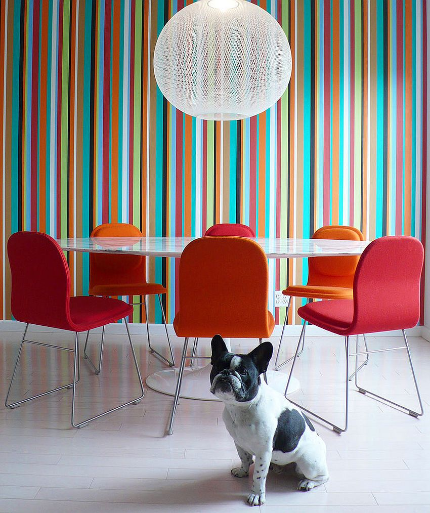 Bold color field striped wallpaper in the contemporary dining room 10 Dining Rooms with Snazzy Striped Accent Walls