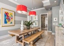 Bright pendants stand out thanks to the neutral backdrop 217x155 10 Dining Rooms with Snazzy Striped Accent Walls