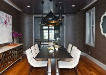 Brilliant combination of gray, black and white in the dining room