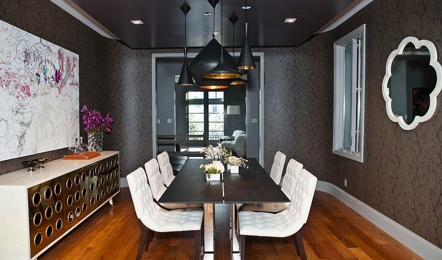 Brilliant combination of gray, black and white in the dining room [Design: MB Jessee]