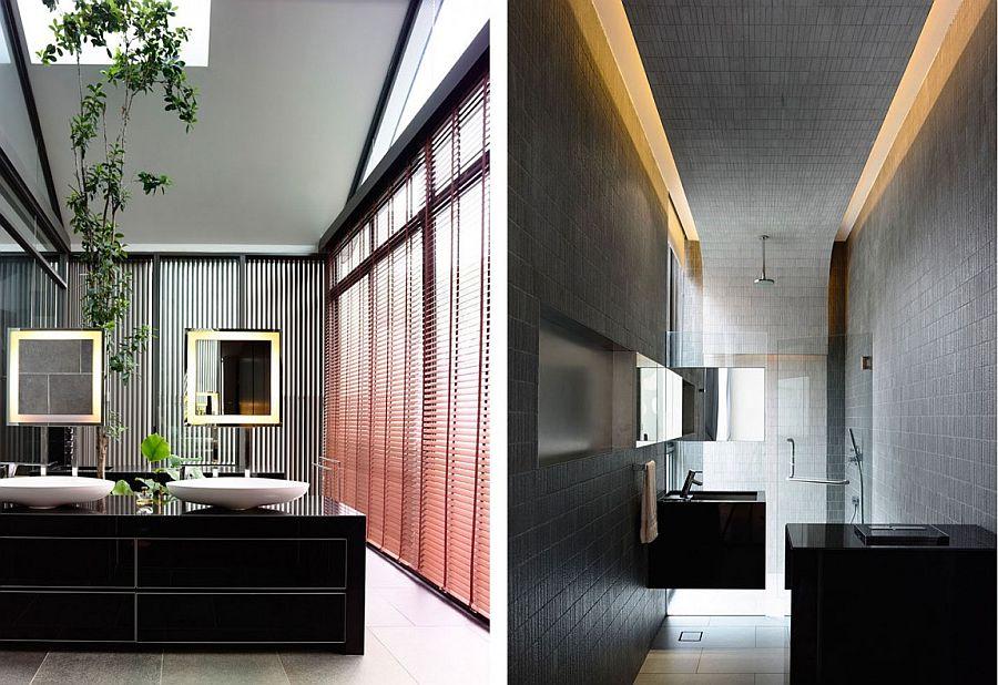 Brilliant lighting and natural greenery help shape stunning spa-like bathrooms