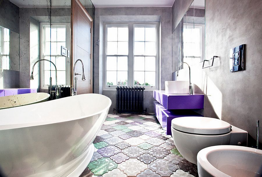 Brilliant purple floating vanity steals the show here