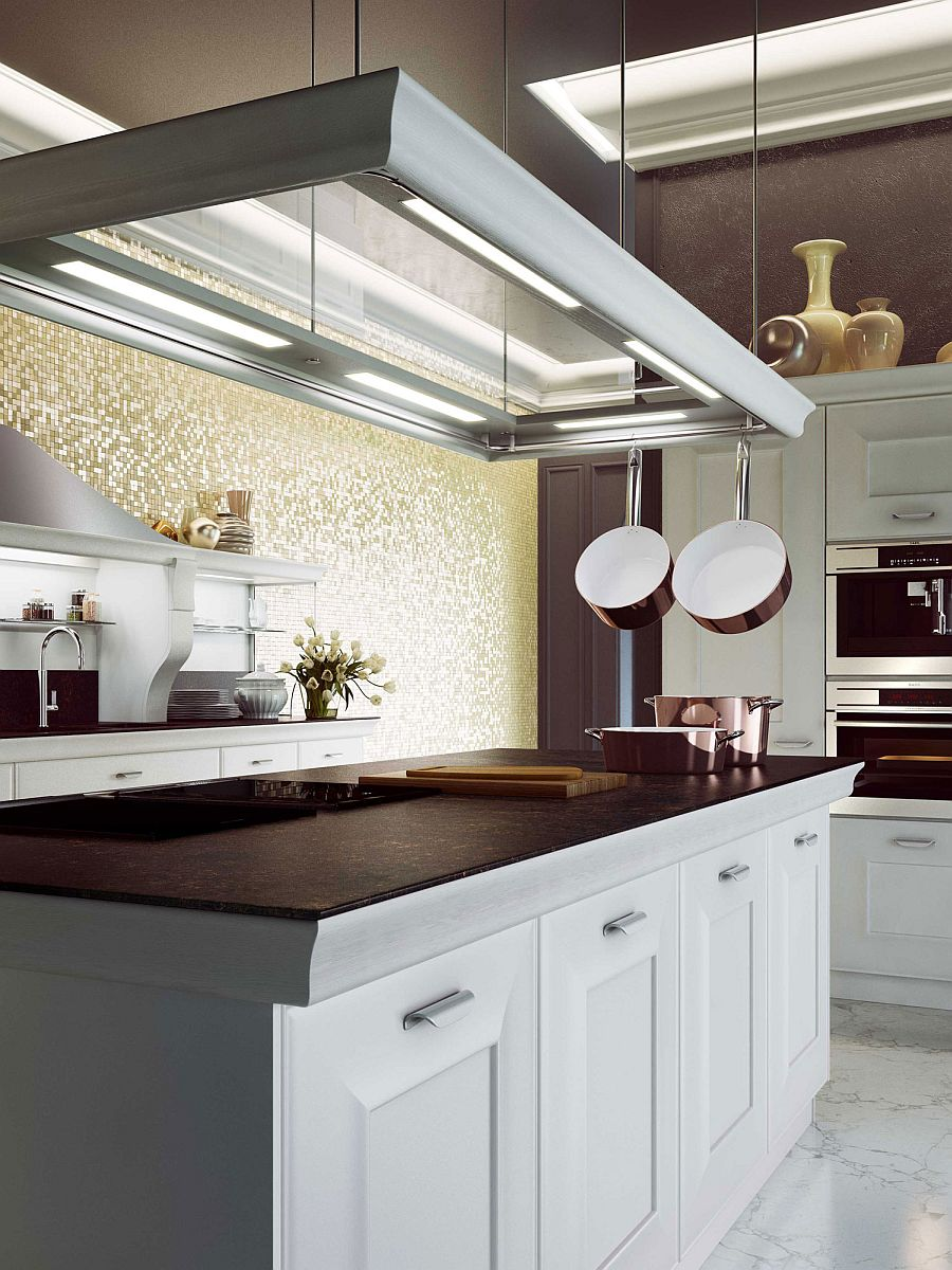 Built-in neon lighting and gorgeous ambient lighting shape the stylish kitchen