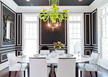 Ceiling adds to the beauty of the dashing dining room in black and white 217x155 How to Use Black to Create a Stunning, Refined Dining Room