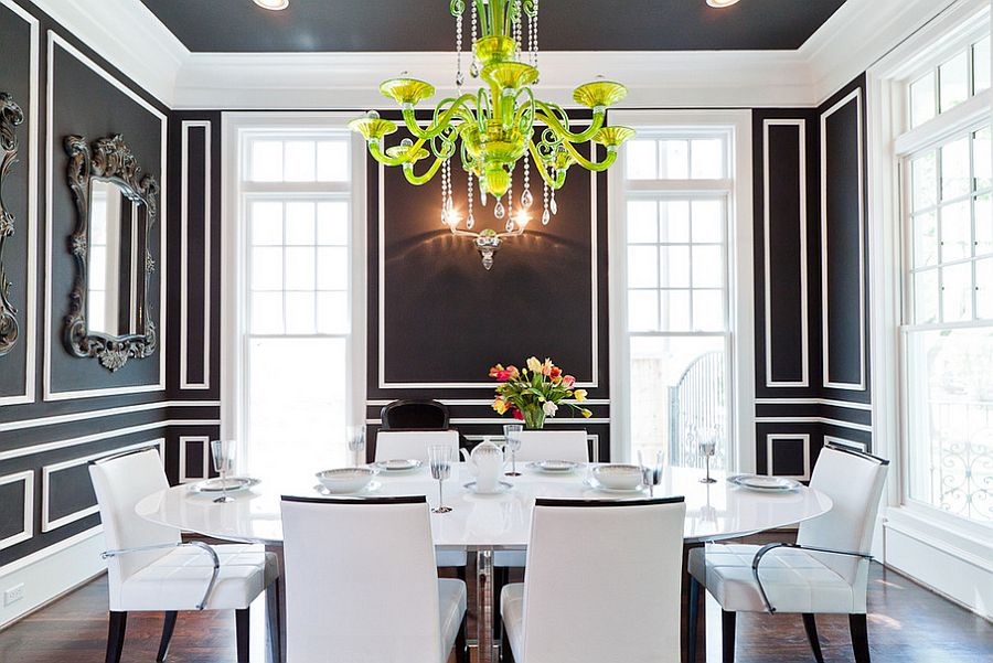 Ceiling adds to the beauty of the dashing dining room in black and white [Photography: Jonathan Calvert]