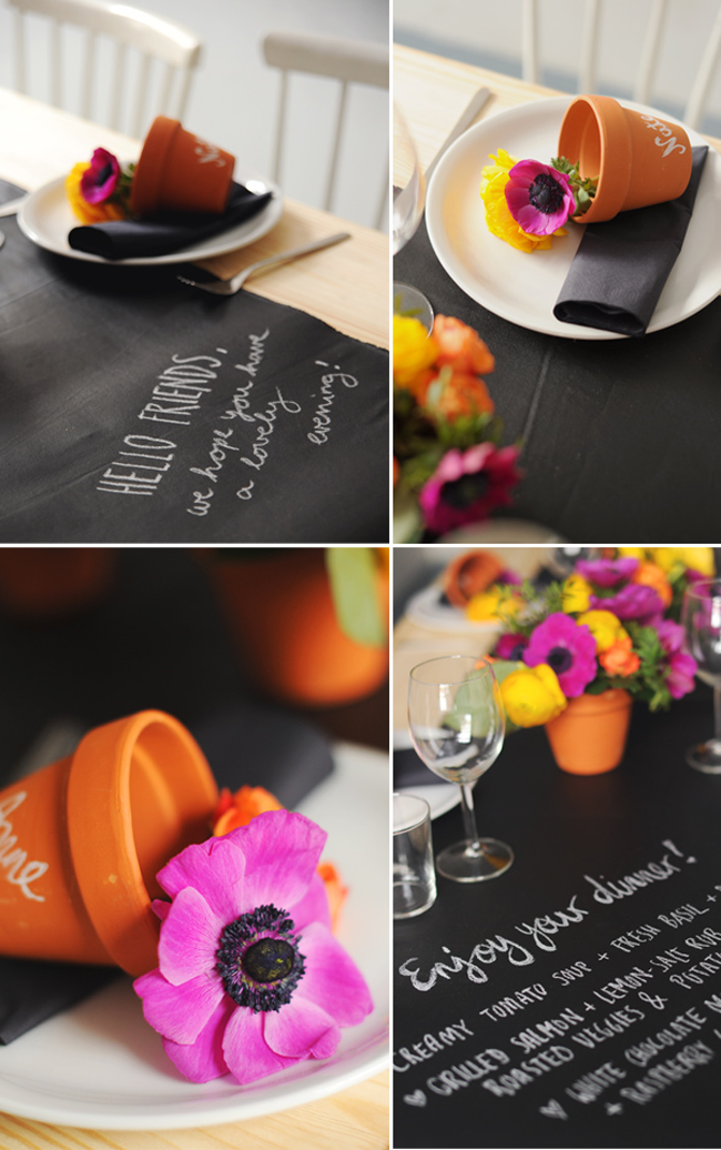 runner Colorful Decoist Runner table with   Flowers  of flowers Chalkboard Table