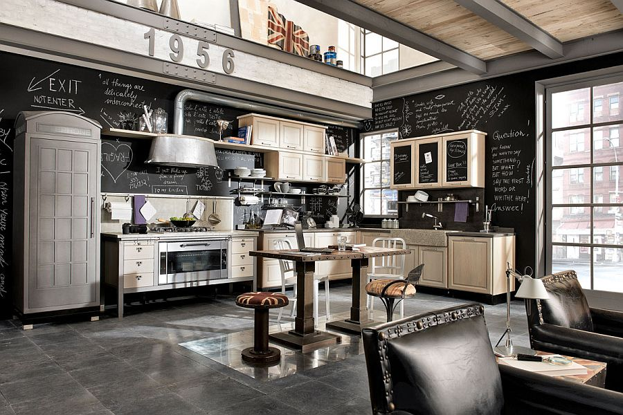 Chalkboard walls, lovely decor and vintage elements shape the iconic kitchen