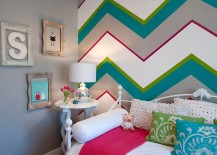 Chevron patterns add both color and class to the kids' bedroom