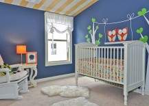 Chic contemporary nursery in newburyport blue with cool wall decal