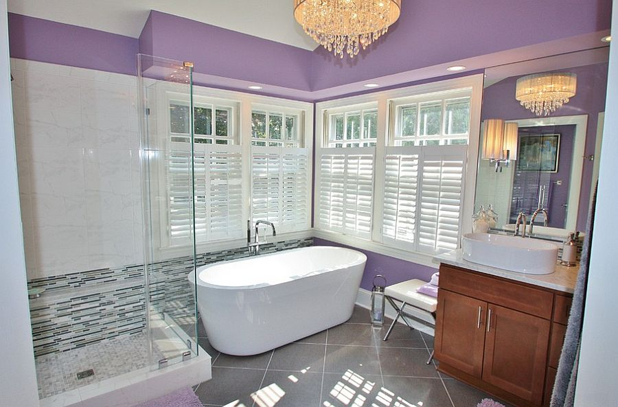 View In Gallery Chic Purple Bathroom With Frameless Glass Shower Area Design Waterstone Kitchen And Bath
