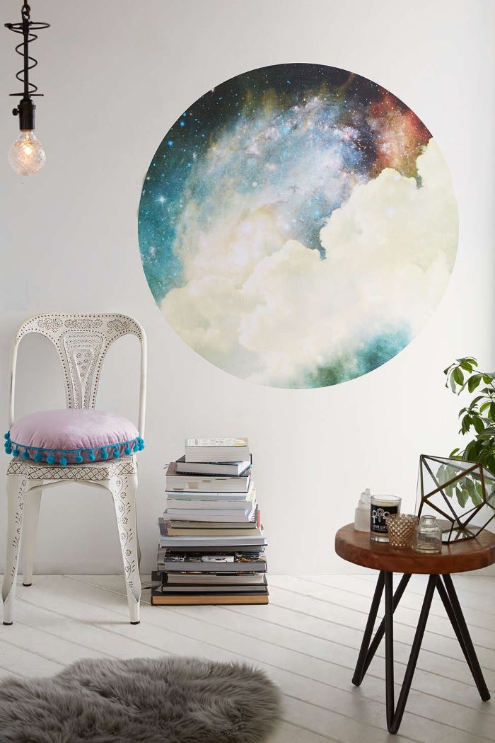 Circular wall decal from Urban Outfitters Under the Milky Way: Galaxy and Moon Phase Decor