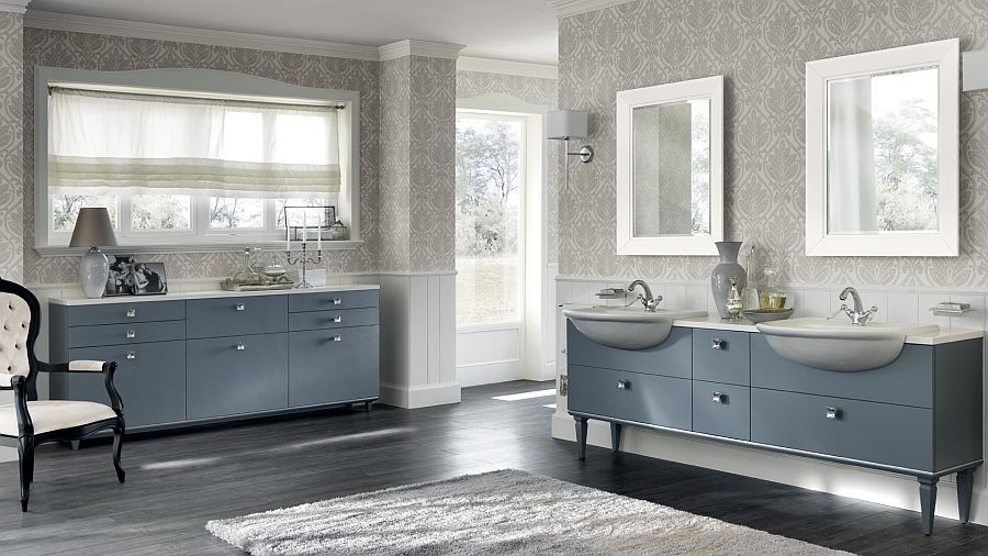 Classy bathroom design with Italian flair and a splash of blue