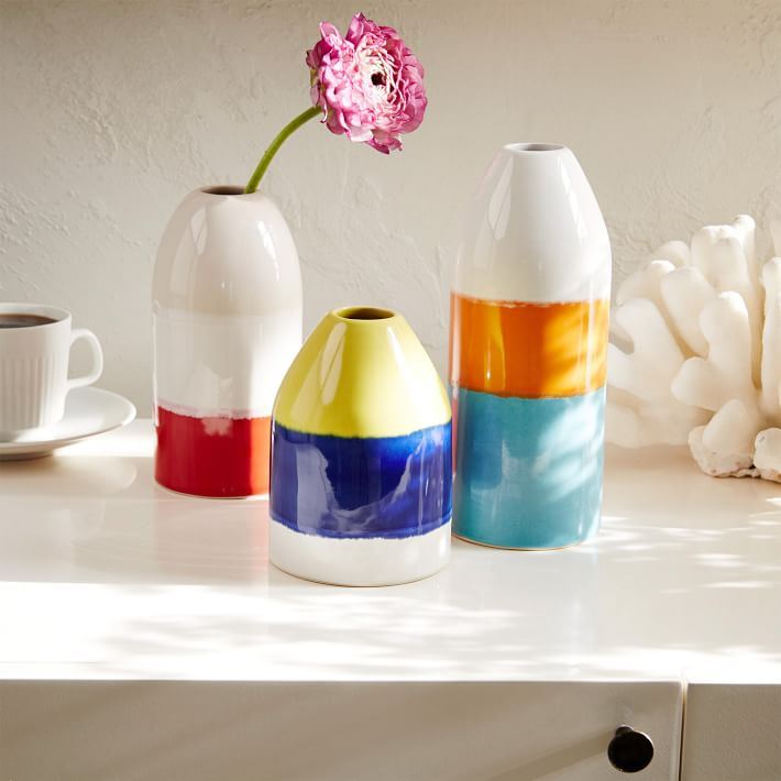 Colorful buoy vases from West Elm