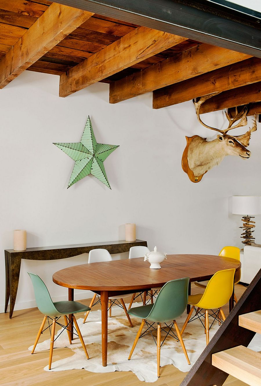 Colorful collection of Eames chairs at the dining area
