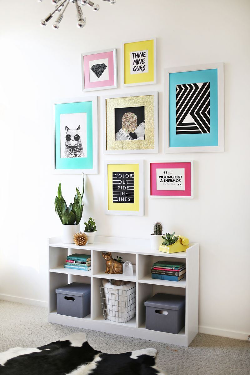 Colorful gallery wall idea