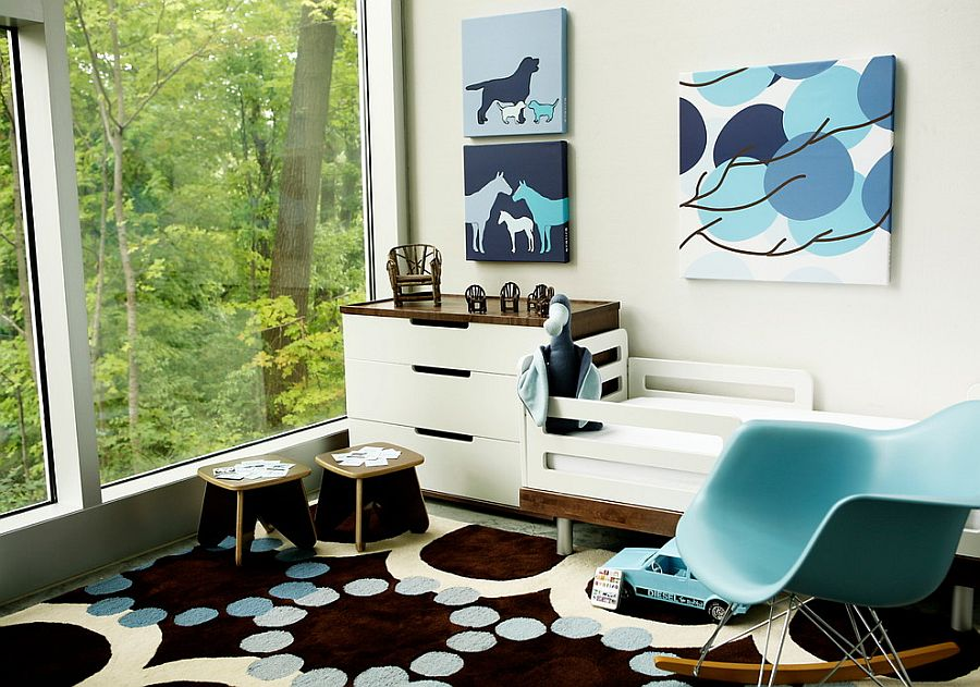 Combine blue with other darker hues for a stylish, contemporary nursery [Design: Avalisa Design]