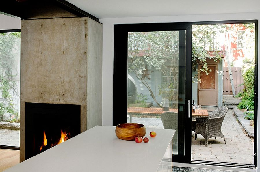 Concrete block and fireplace give the space a a unique focal point