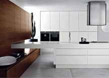 Contemporary Italian kitchen with wooden shelves