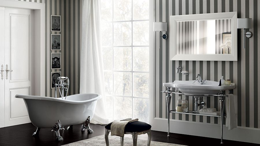 Contemporary bathroom design with cla-foot bathtub, stripes and art deco inspiration