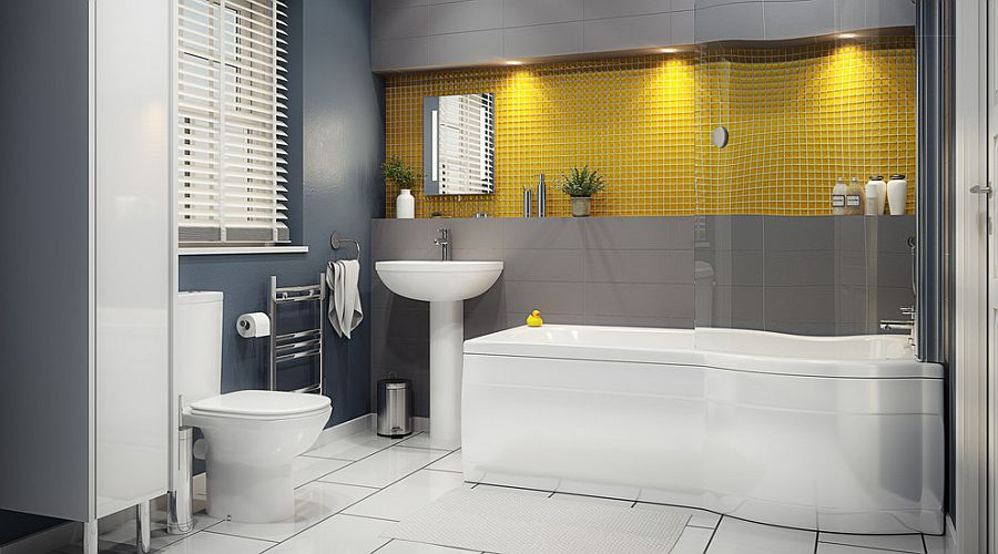 Contemporary bathroom in gray and yellow 16 Gorgeous Bathrooms with the Warm Allure of Yellow