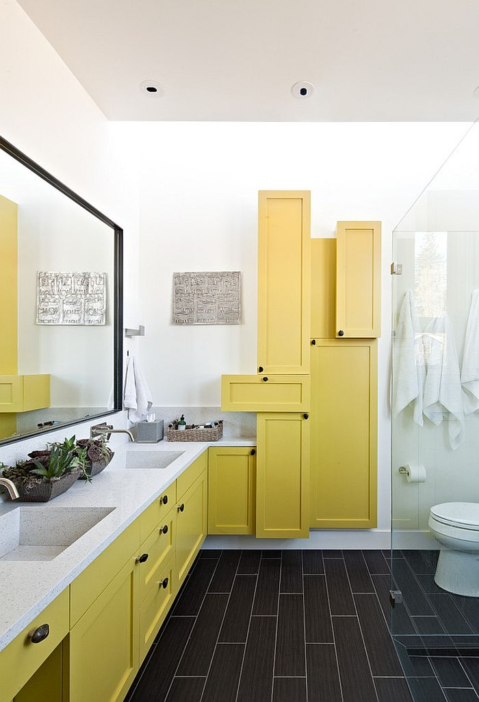 Contemporary bathroom with fascinating use of yellow shelves [Design: WA design]
