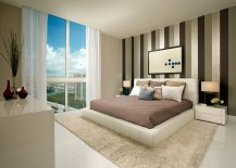 Contemporary bedroom with wonderful view of Miami skyline